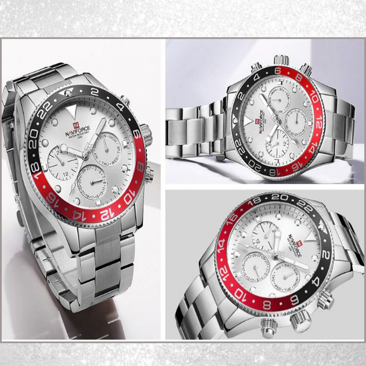 Naviforce 9147SW Stainless Chrono Watch - Silver