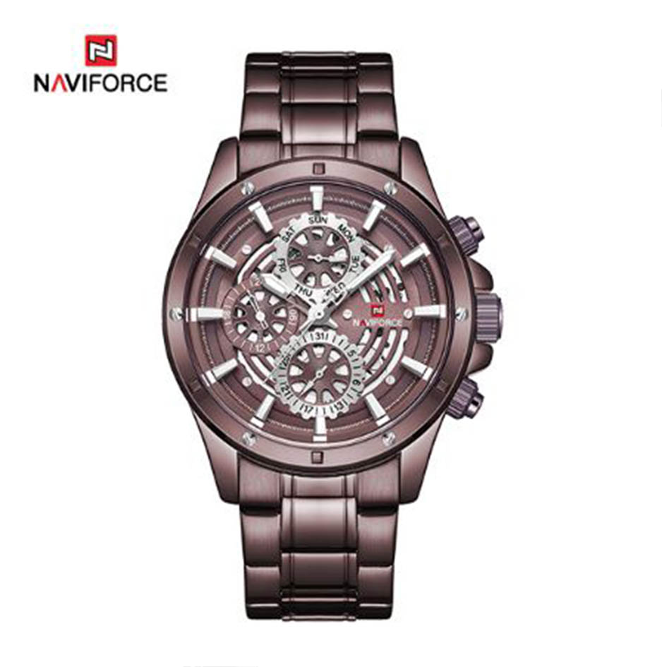 Naviforce 9149CEWCE Stainless Chrono Watch - Coffee