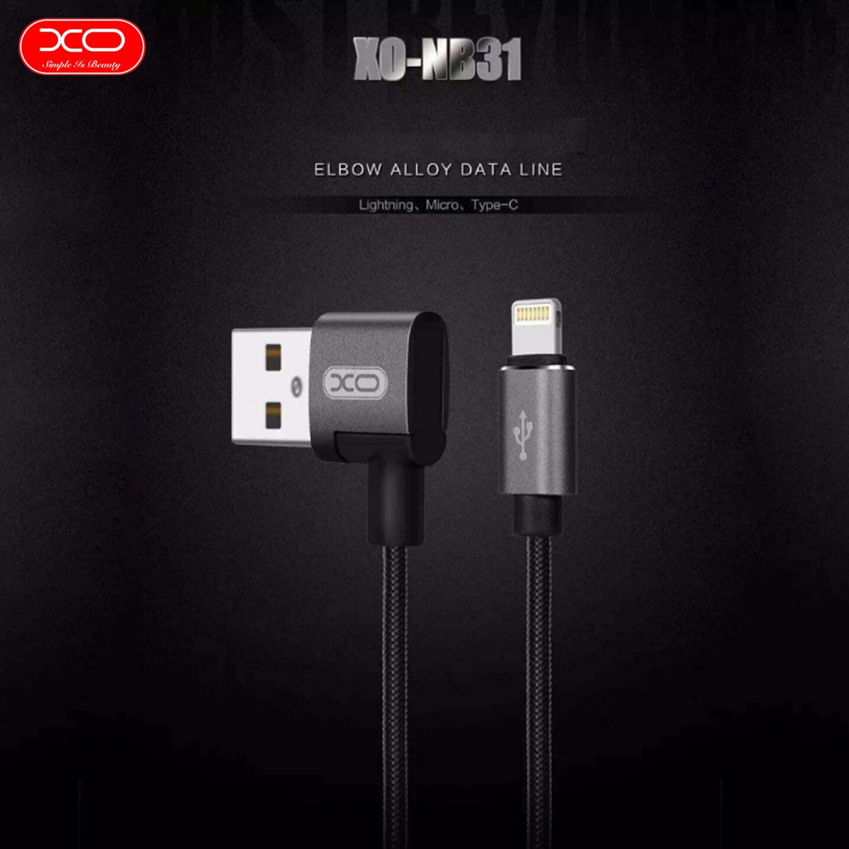XO NB31 Lightning USB Elbow Alloy 2.4A Cable - Black