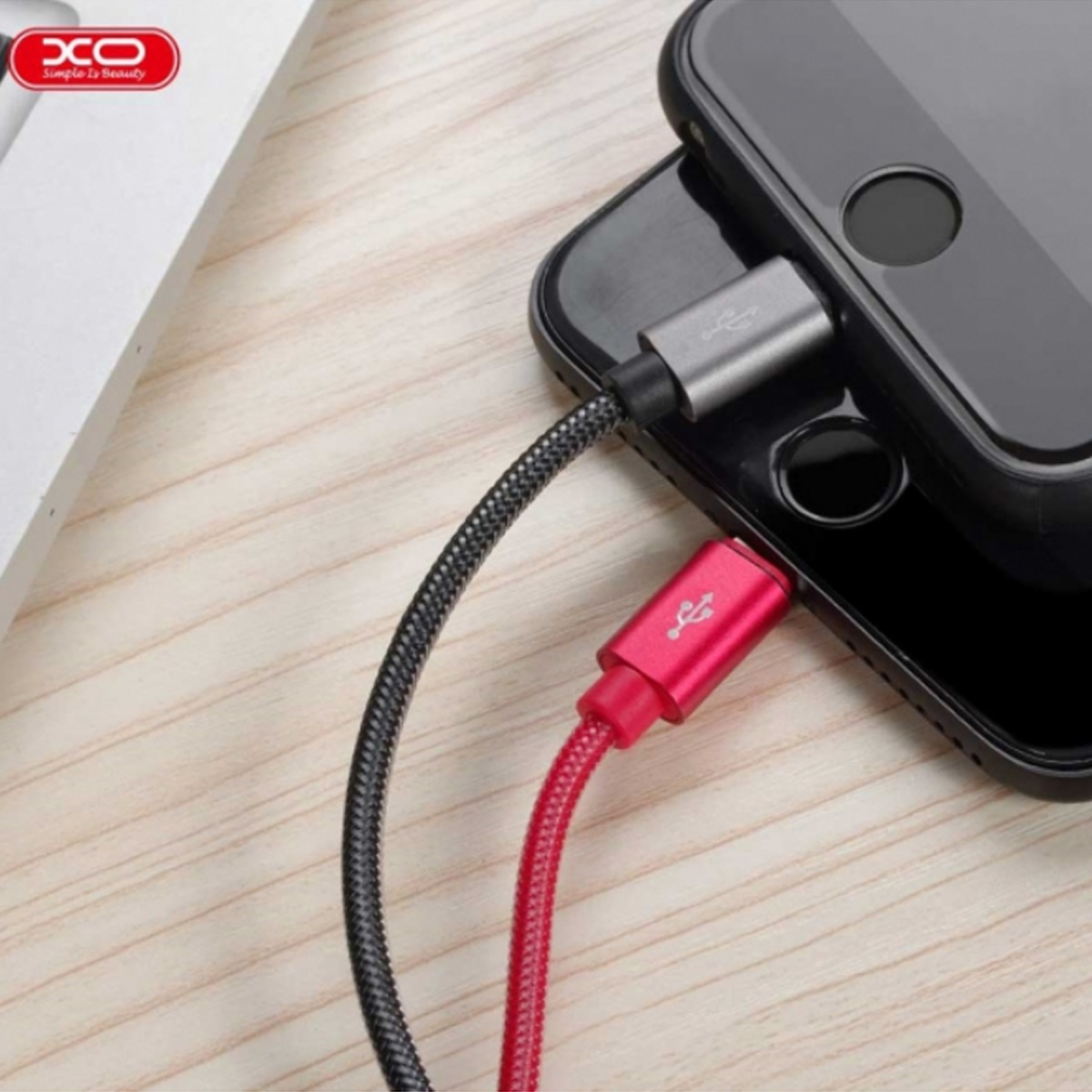 XO NB31 Type C USB Elbow Alloy 2.4A Cable - Red