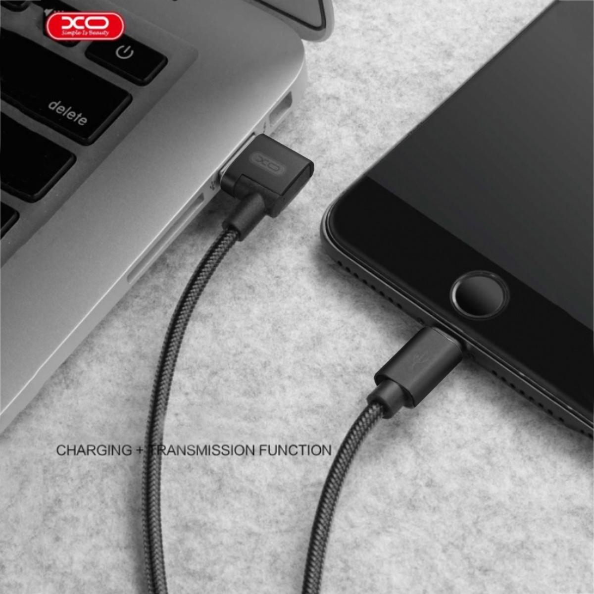 XO NB31 Micro USB Elbow Alloy 2.4A Cable - Black