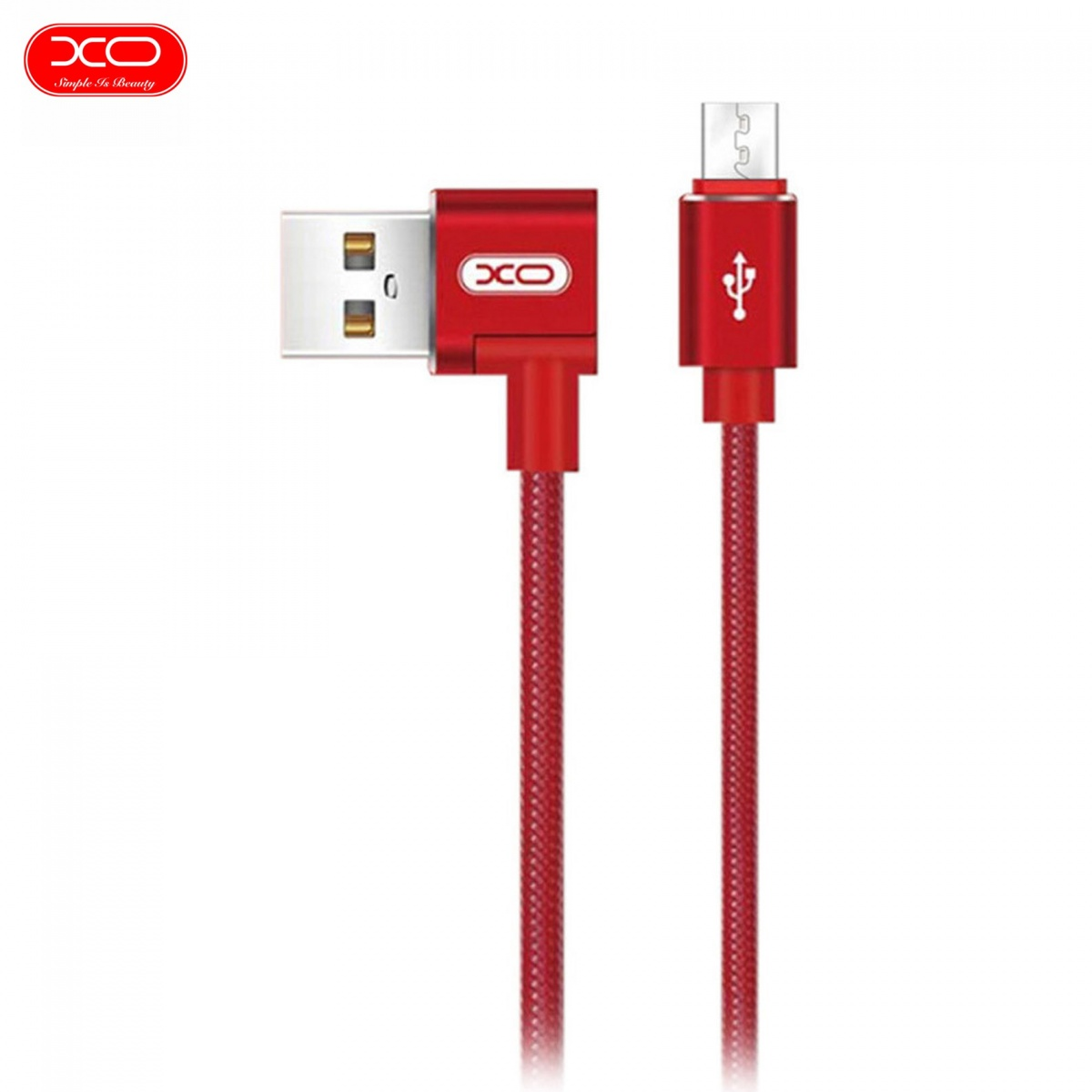 XO NB31 Micro USB Elbow Alloy 2.4A Cable - Red