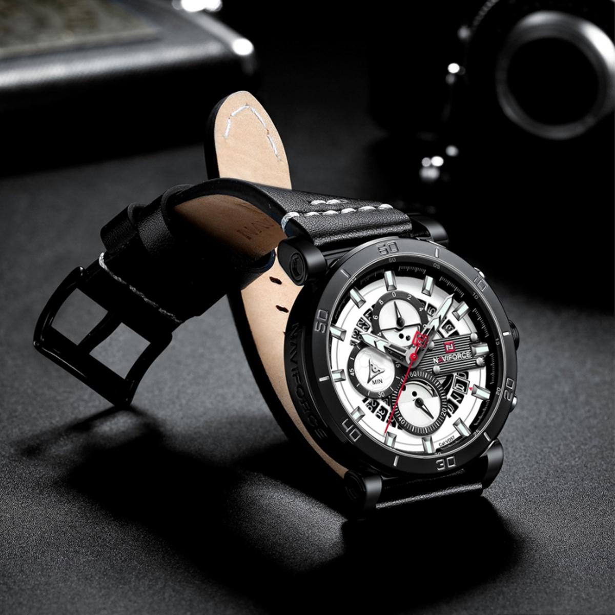 Naviforce 9131 Analog Sports Leather Quartz Watch - Black