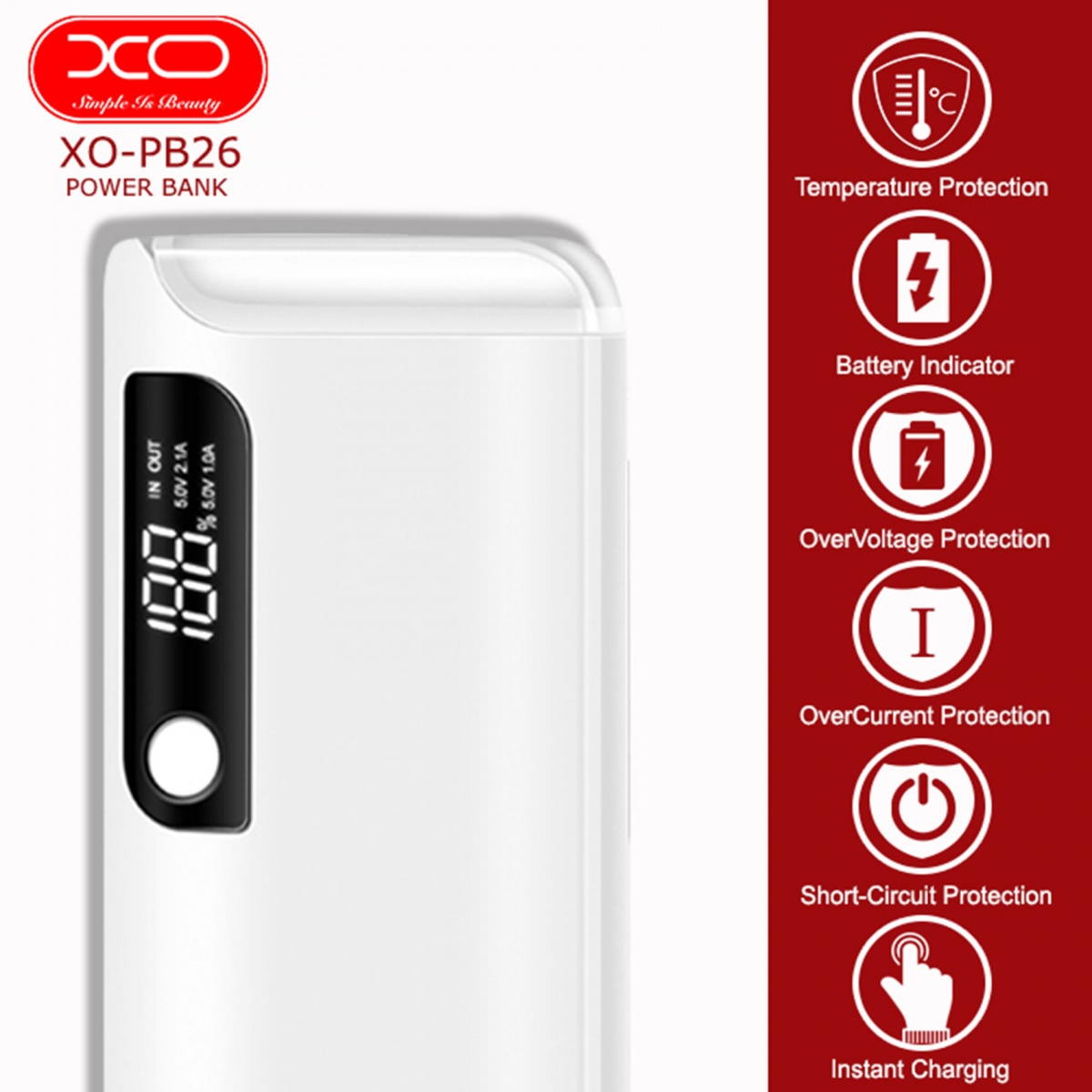 XO PB26 15000 mAh Powerbank With LED Light  - White