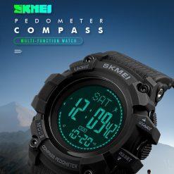 SKMEI 1356 Multifunction  50M Waterproof Outdoor Watch  - Black