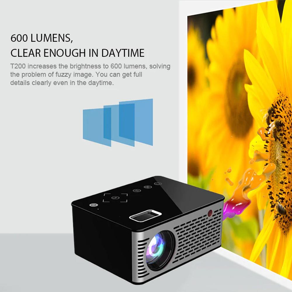 Unic T200 Smart Mini LED Projector - Black