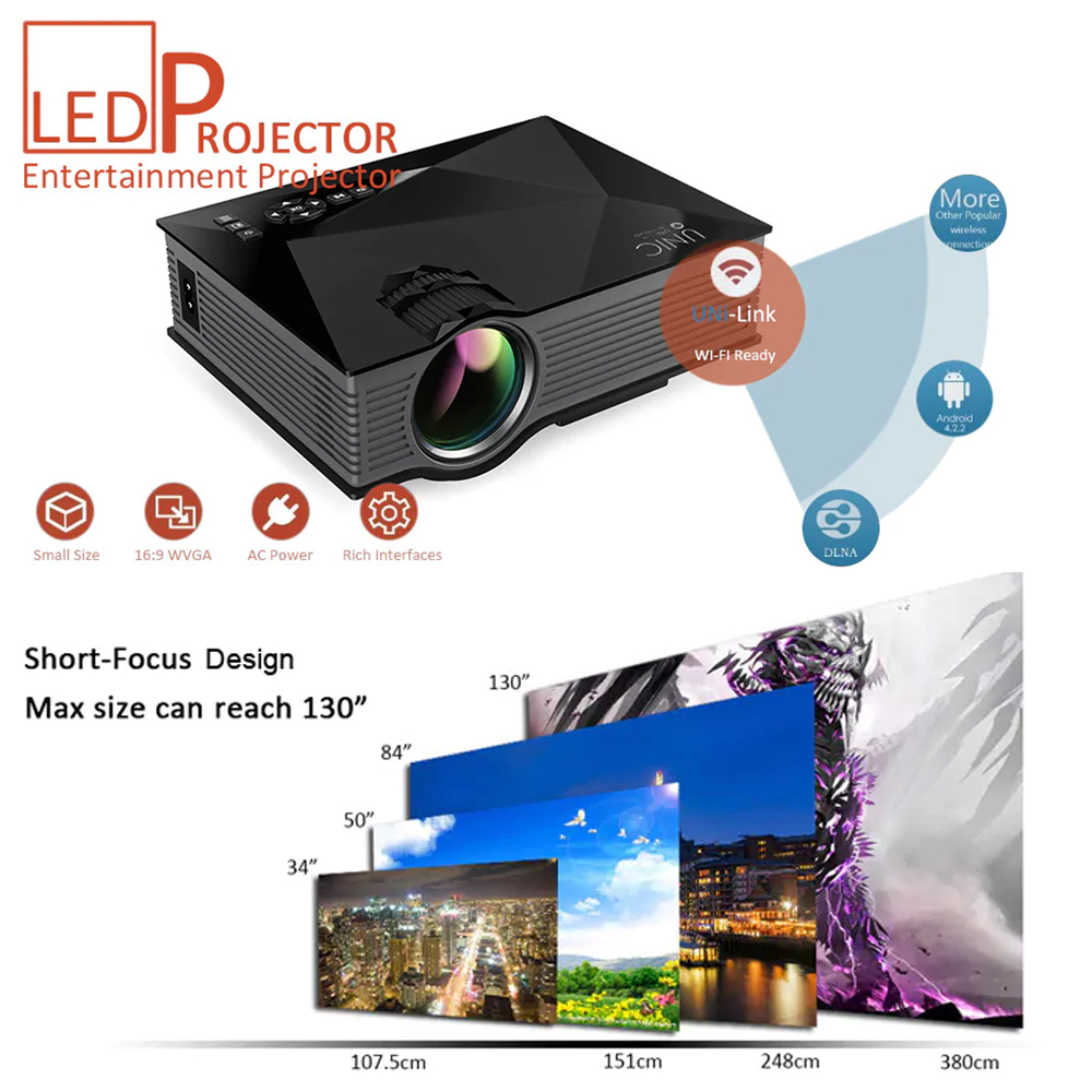 Unic UC68 Portable LED Projector With Wifi