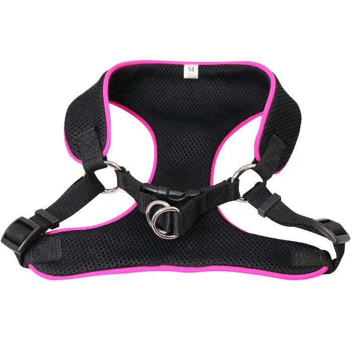 Breathable Soft Air Mesh Pet Dog  Cat Vest Harness  Medium - Black