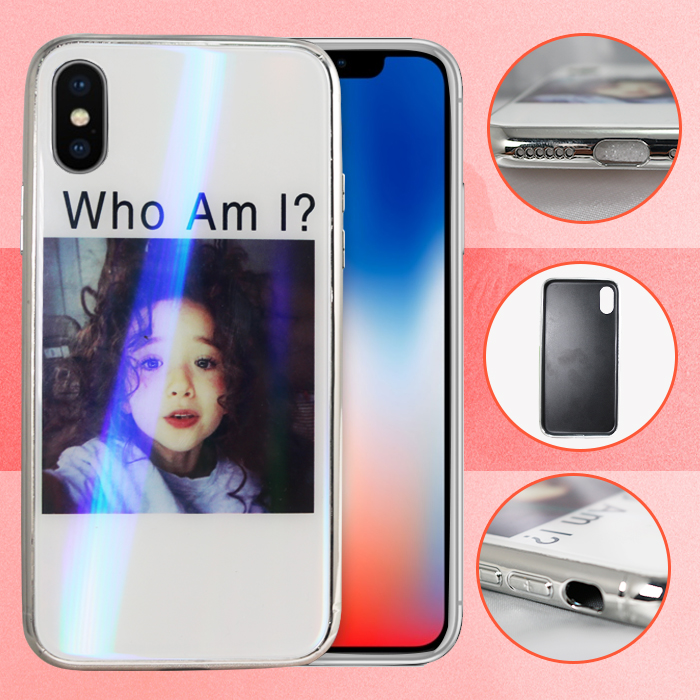 Iphone X  Who Am I Girl Design Tempered Glass case - White