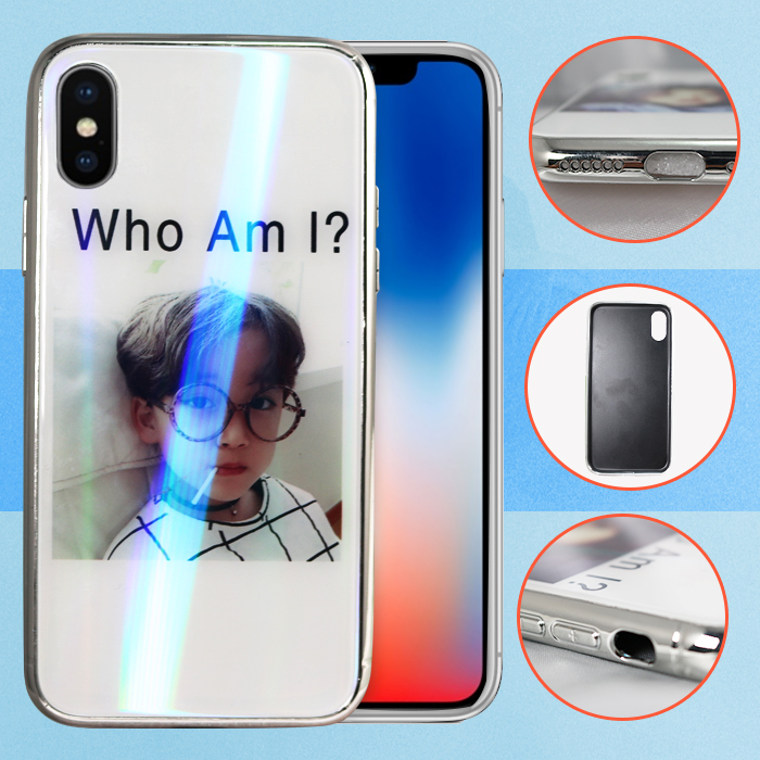 Iphone X  Who Am I Boy Design Tempered Glass case - White
