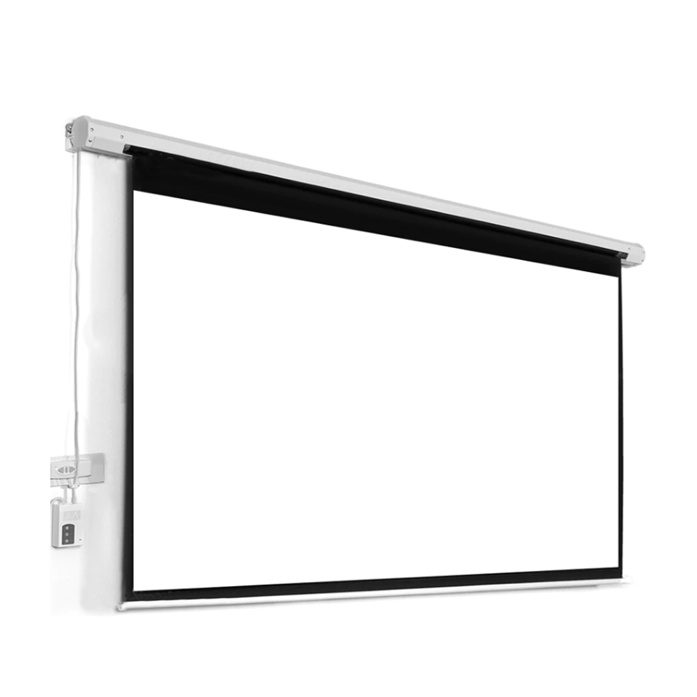"100"" 16:9 Electric Motorized Projection Screen - White"