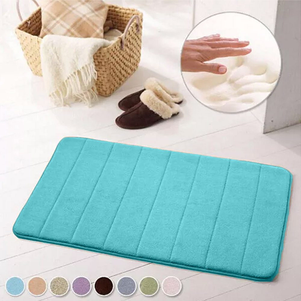 Anti-Slip Memory Foam Bathroom Bedroom Soft Mat - Blue