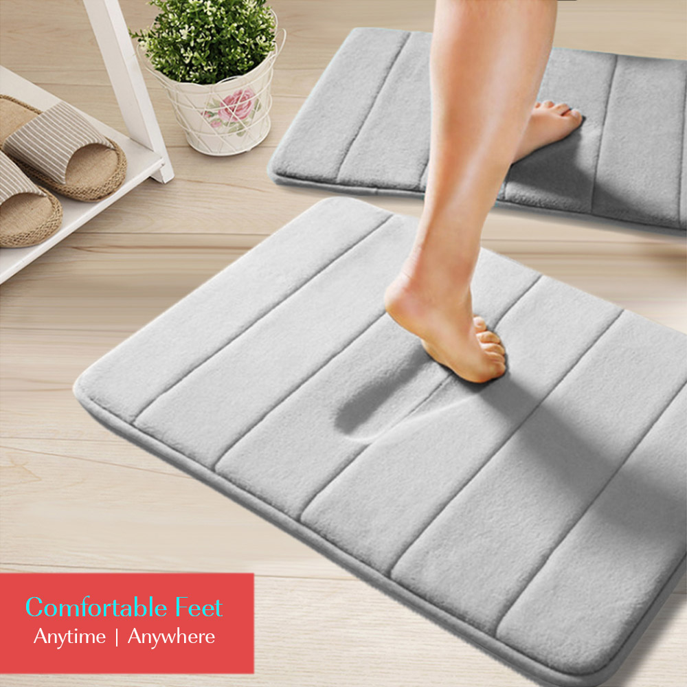 Anti-Slip Memory Foam Bathroom Bedroom Soft Mat - Grey