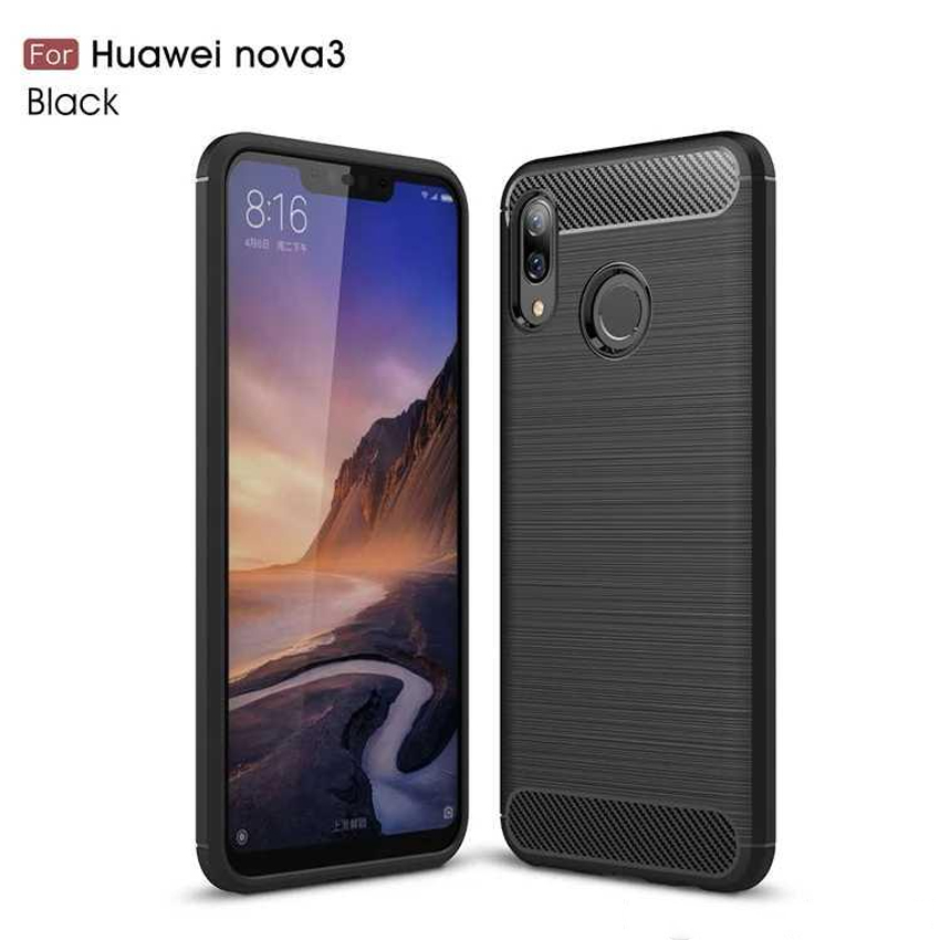 Huawei Nova 3 Fashion Fiber Phone Case - Black