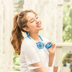 Wearable Hanging Rechargeable Fan - Blue