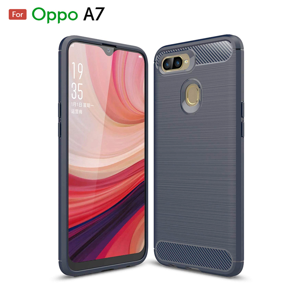 Oppo A7 Fashion Fiber Phone Case - Grey