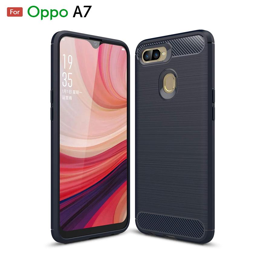 Oppo A7 Fashion Fiber Phone Case - Black