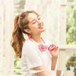 Wearable Hanging Rechargeable Fan - Pink