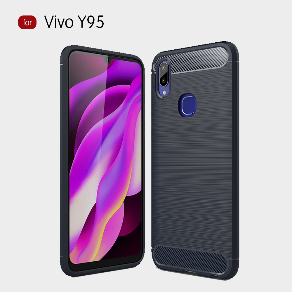 Vivo Y95 Fashion Fiber Phone Case - Black