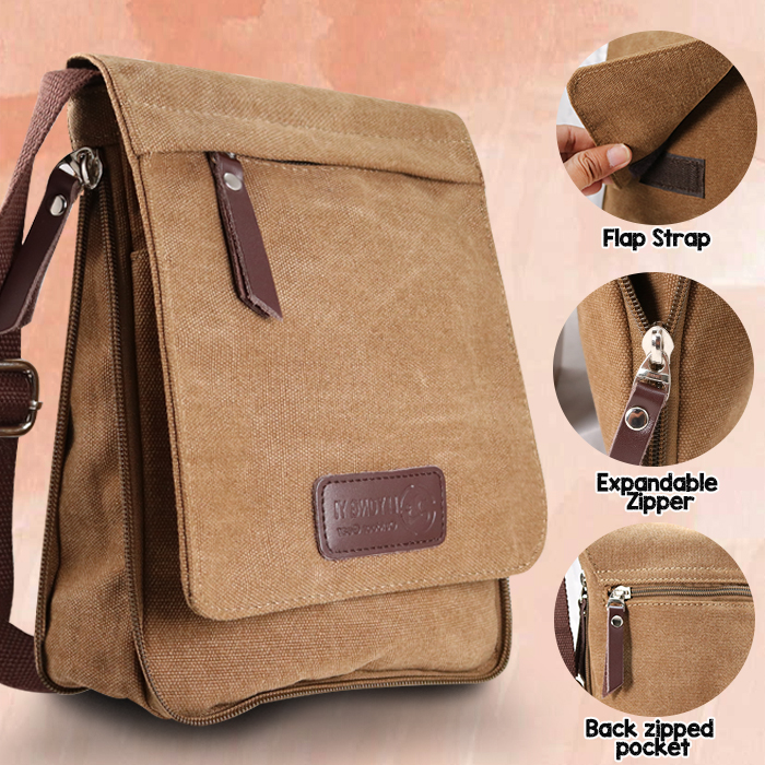 Liyong Yi  Expandable Messenger Bag With Multiple Gadget Compartment - Brown