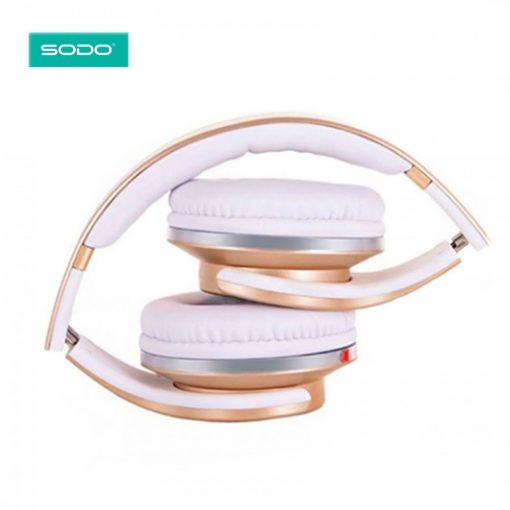 SODO MH1 Foldable Wireless Bluetooth 2 in1 Headphones with Twist-out   Speaker - Gold