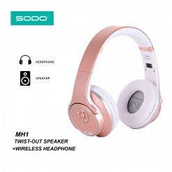 SODO MH1 5 In 1 Bluetooth Headset Speaker Convertible With FM Mp3 Player And Line In - Rose Gold