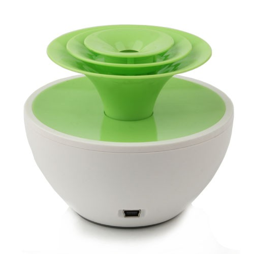 USB  Flower Pot Humidifier - Green and White