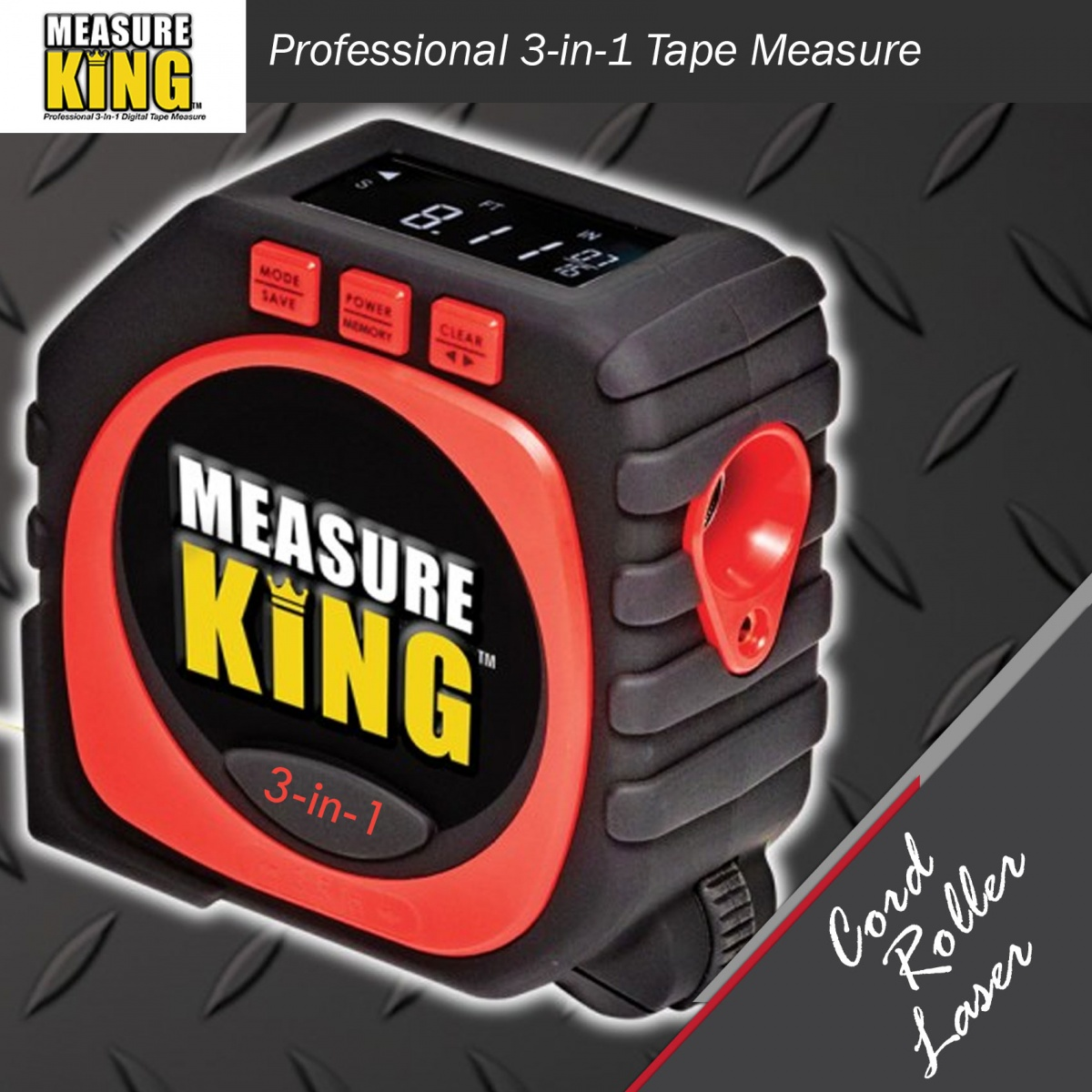 Measure King 3 In 1 Digital Tape Measure  - Red