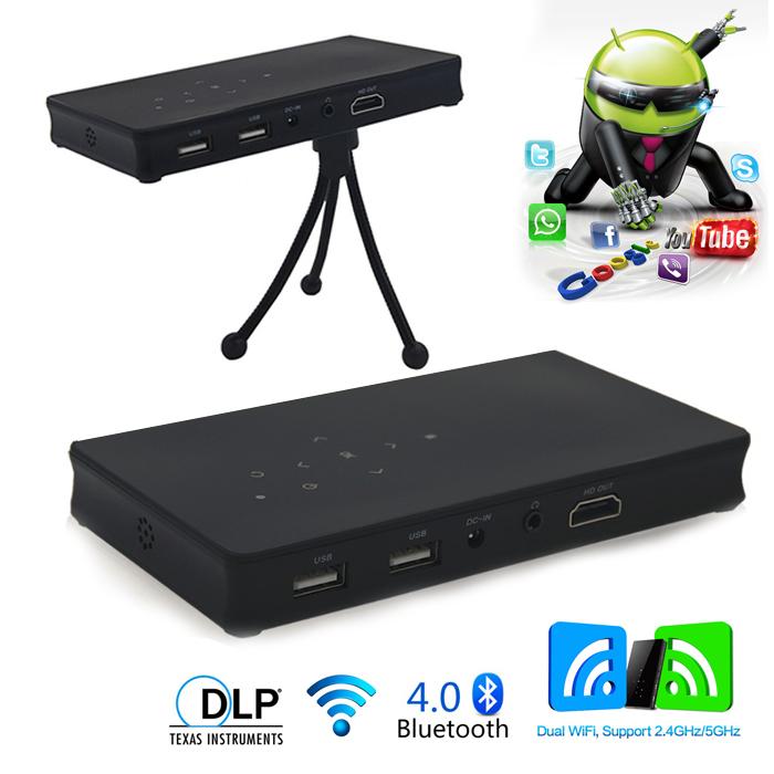 Wireless Wifi Android Mini Smart DLP Projector - Black
