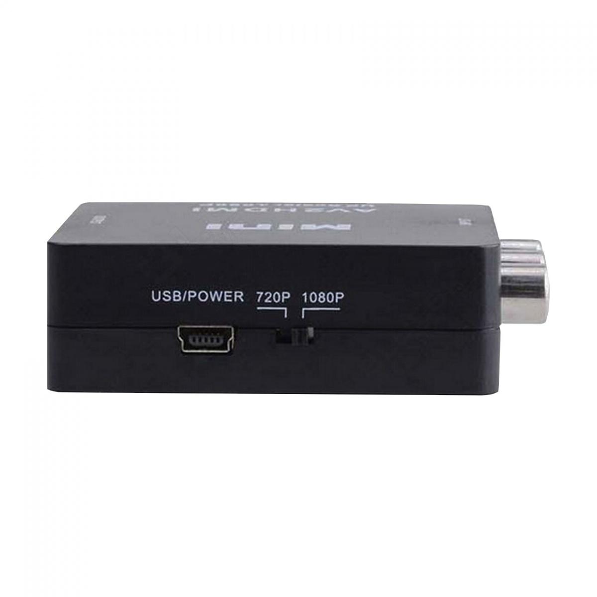 Mini AV2HDMI UP Scaler RCA T0 HDMI 1080P Video Converter Box - Black
