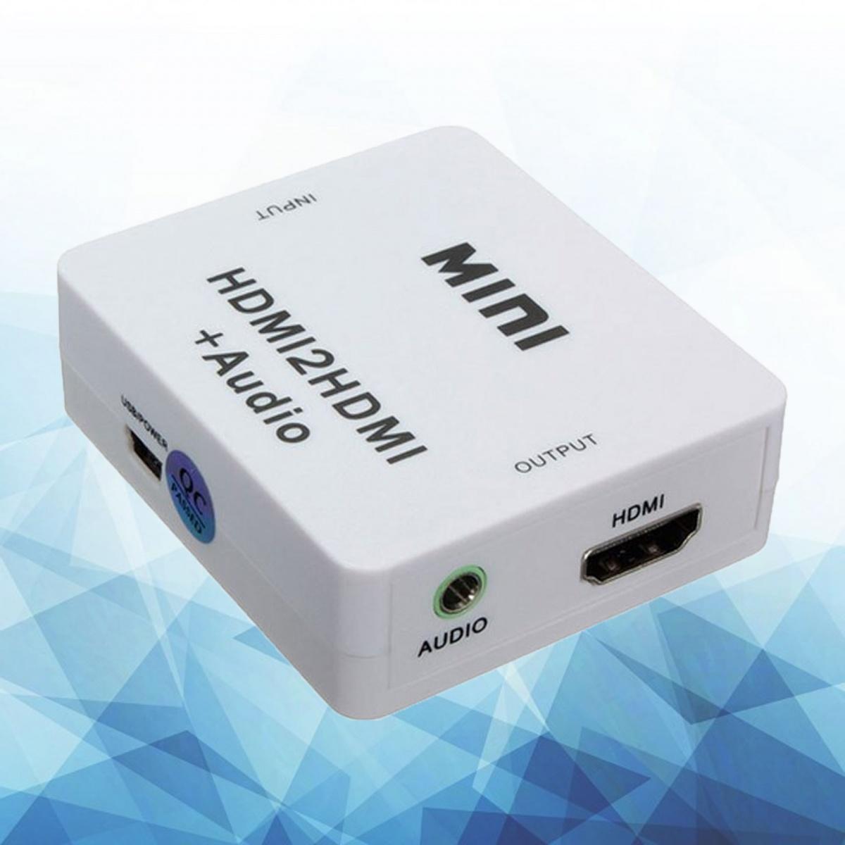 MINI HDMI to HDMI+Audio HDMI To HDMI And 3.5mm Audio Splitter - White