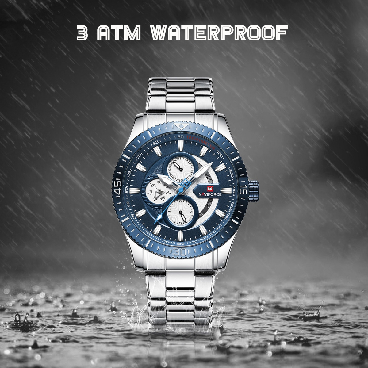 Naviforce 9140 Water Resistance Stainless Chrono Watch - Blue