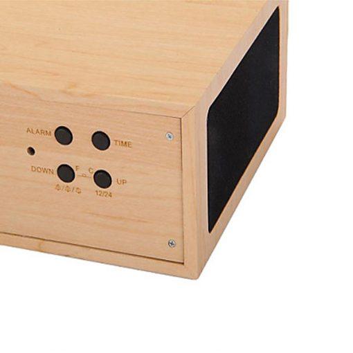Wood Finish Alarm Clock With NFC Bluetooth Speaker And FM Radio - Brown