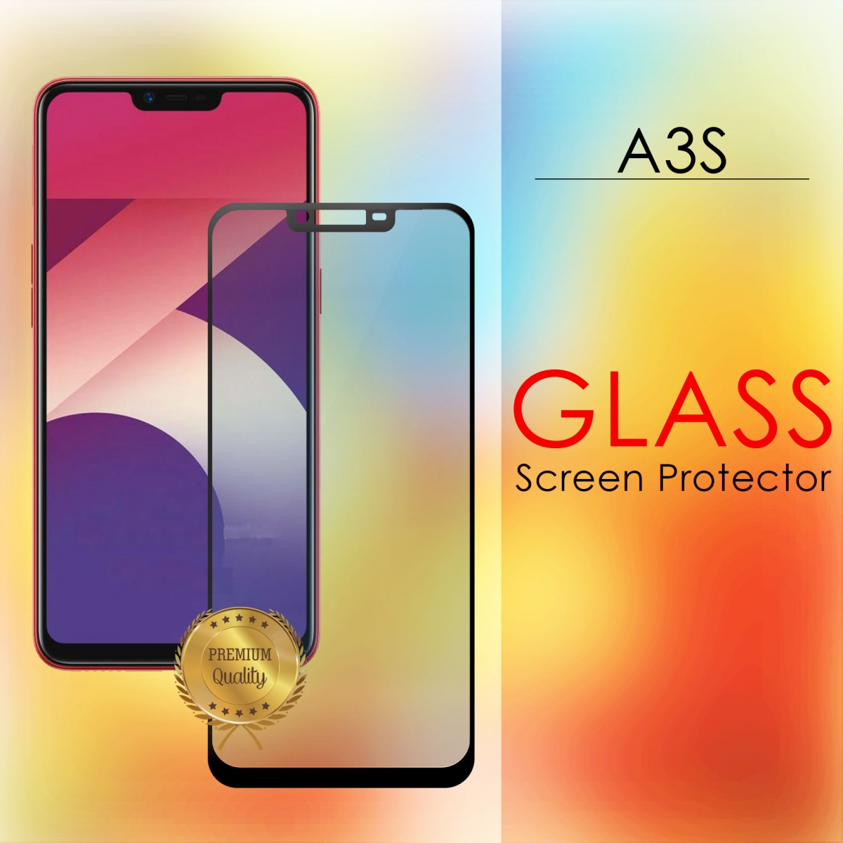 Oppo A3s Full Screen Temper Glass With Black Lining