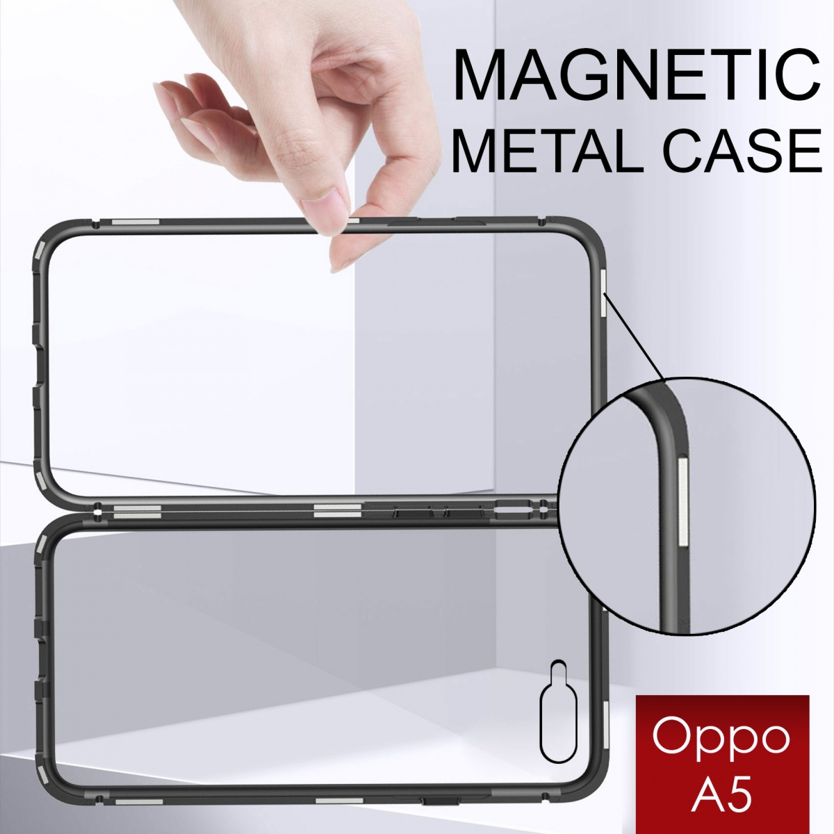 Oppo A5 Magnetic Metal Flip Phone Case - Black