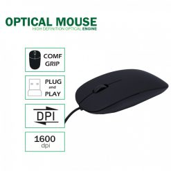 Slim Wired Optical Mouse  - Black