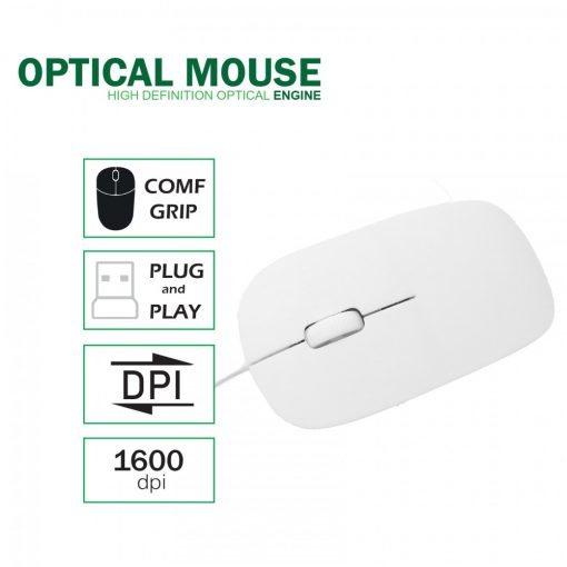 Slim Wired Optical Mouse  -  White