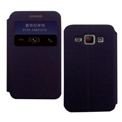 Samsung Galaxy J1 Polyurethane  Leather Case With Swipe Window - Blue