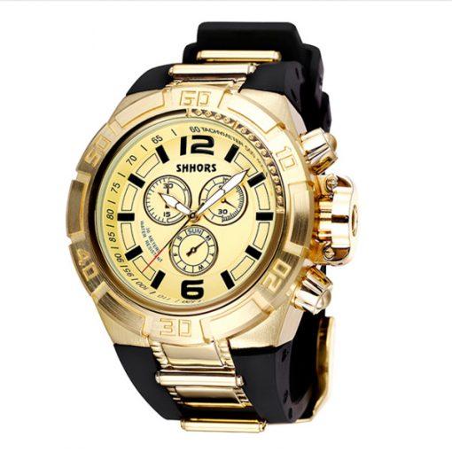 Shhors SH-A0050A Men Waterproof Quartz Watch - Gold