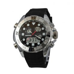 Shhors SH-0112 Men Dual Mode Sport Watch - White Steel/Black
