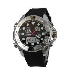 Shhors SH-0112 Men Dual Mode Sport Watch - White Steel/Black