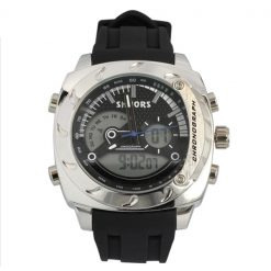 Shhors SH-0231A Men Dual Mode Digital And Analog Watch - Black / White Steel