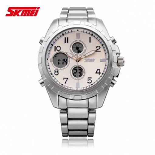 SKMEI 1021 Dual Time Stainless Watch - White