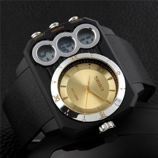 Skmei 1090 Men Dual Mode Analaog and  Digital Watch - Gold