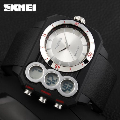Skmei 1090 Men Dual Mode Analaog and  Digital Watch -  Silver