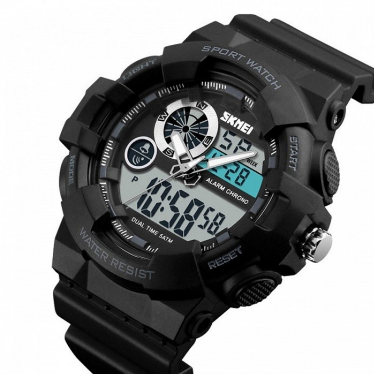 Skmei 1312 Water Resist Dual Mode Sport Watch - Black