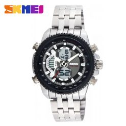 SKMEI 0993 3ATM Dual Mode Digital Analog Stainless Watch - Black