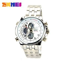 SKMEI 0993 3ATM Dual Mode Digital Analog Stainless Watch - White