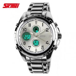 SKMEI 1021 Dual Time Stainless Watch - White