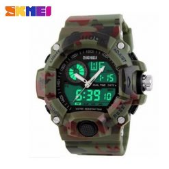 Skmei 1029 5ATM Dual Model Digital Analog Army Digital LED Watch - Camouflage Green